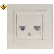 LUXEL BRAVO белый Компьютерная розетка+телефонная 5029