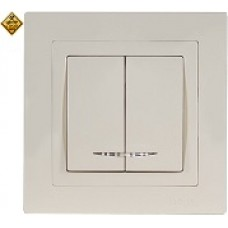 LUXEL BRAVO белый Выключатель двойной с подсветкой 5006